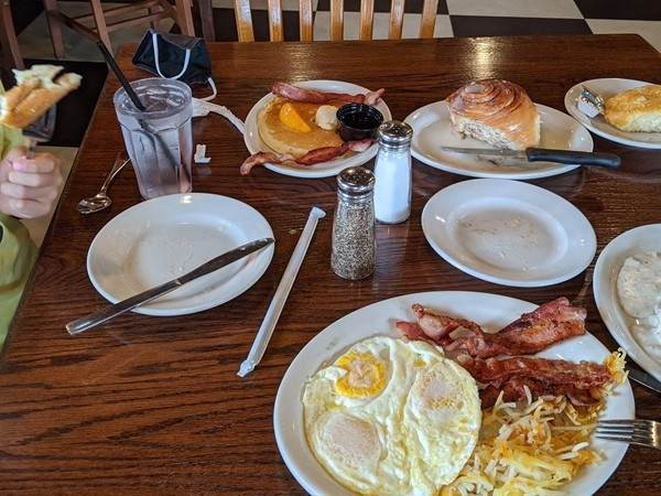 Breakfast feast at Corner Cafe. Try the biscuits and gravy