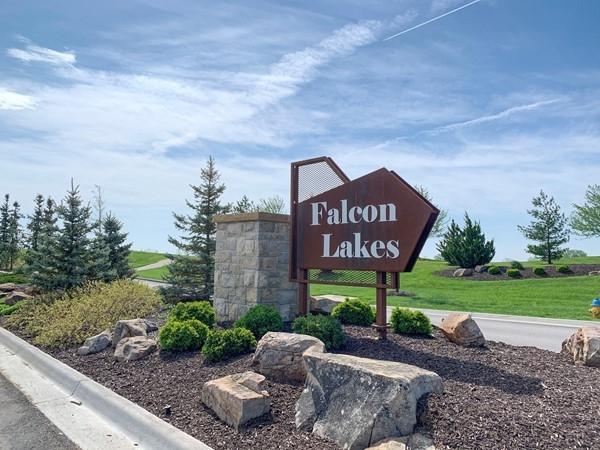 Falcon Lakes entrance sign