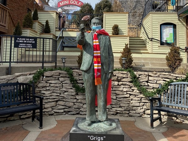 Parkville has been on top of mask wearing since February. Grigsby Statue in Pocket Park