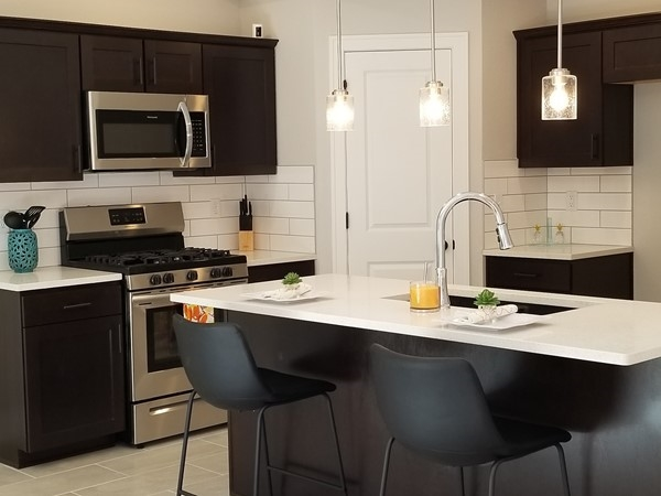 Quartz countertops, walk-in pantry, stainless steel appliances, white or stained cabinetry
