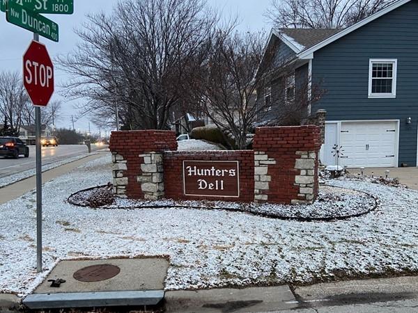 Hunters Dell Subdivision entrance