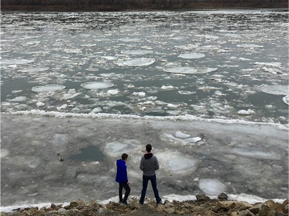 The ice currently floating down the Missouri River is a beautiful sight