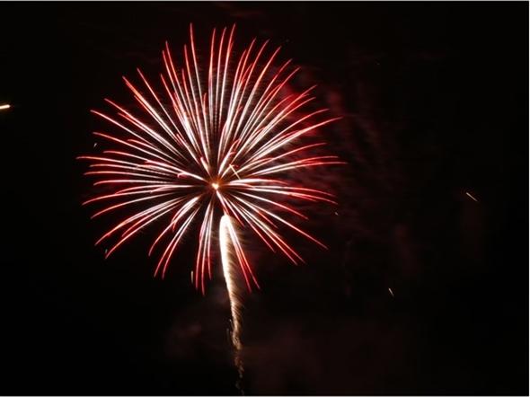 Red fireworks in Fairway