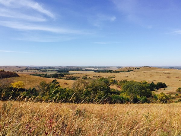 A long view across the Flint Hills looking towards Manhattan, KS