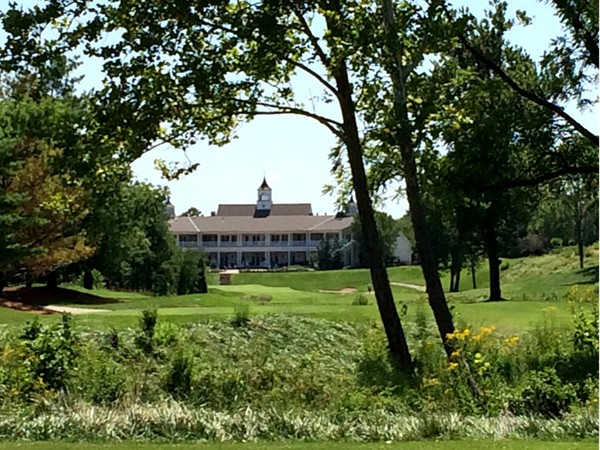 The clubhouse at The National provides a stunning backdrop for the, par five, eighteenth hole