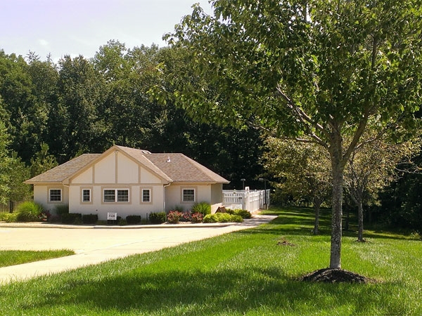 Withersfield Clubhouse and pool area tucked in the trees