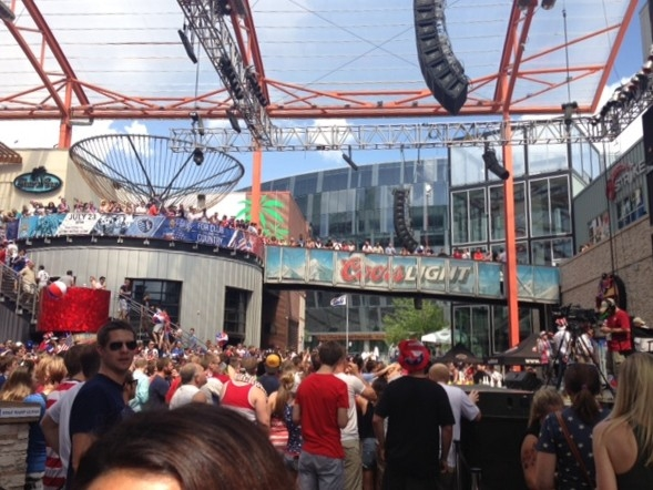 Kansas City Power & Light District packs a crowd for the USA v Portual, World Cup match
