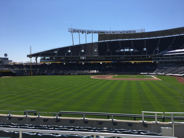 The field looks ready. A week before home opener at Kauffman Stadium