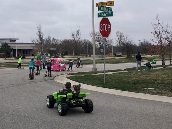 Saint Patty's Day Parade -- while keeping social distance! Fun
