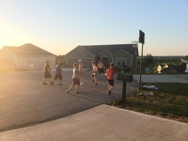 A little friendly game of basketball with some neighbors