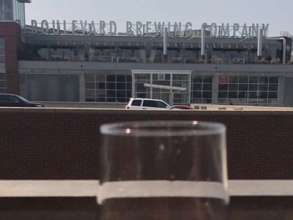 Enjoying a beverage with a great view of the Boulevard Brewing Company