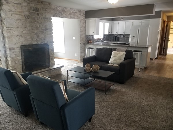 A lovely open concept living room at Manor Oaks