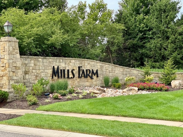 Mills Farm neighborhood entrance