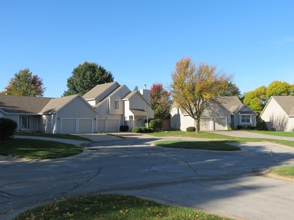 One of the cul-de-sacs in Treesmill. Note duplex homes and free-standing home