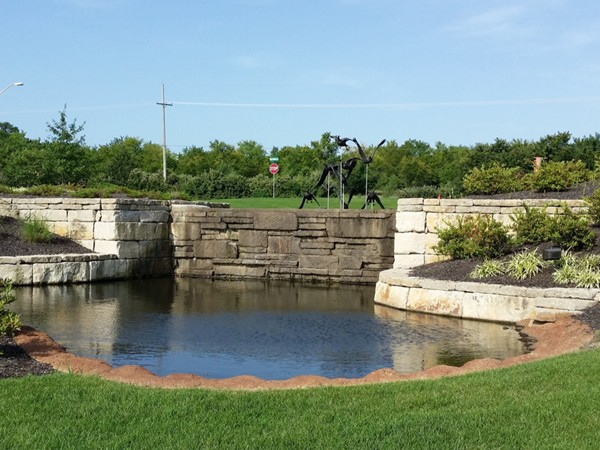 Beautiful water feature at Waters Edge community in Overland Park