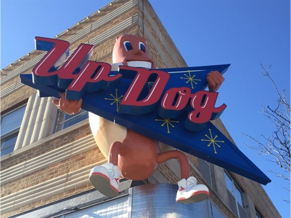 Up Dog is a specialty hot-dog joint located on the Independence Square