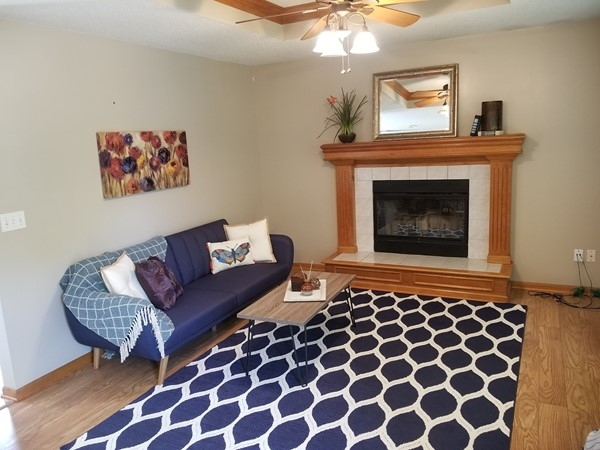 A beautifully staged living room in Blue Springs School District