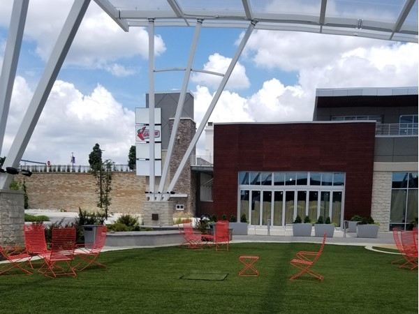 A great place to sit and play outside of Smitty's in Ward Parkway Plaza