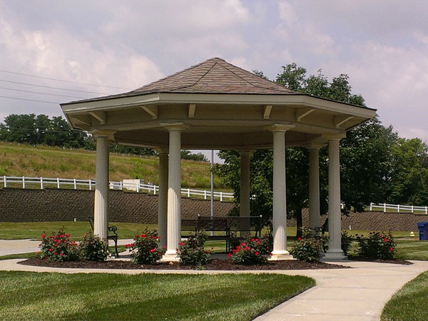 This pretty gazebo is a welcoming spot for walkers