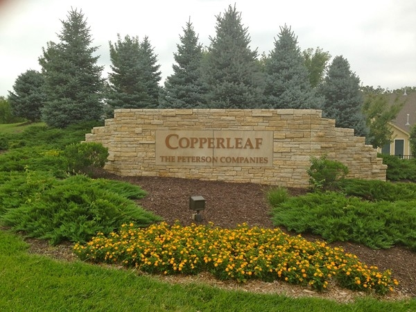 The Copperleaf entrance is beautiful in any season