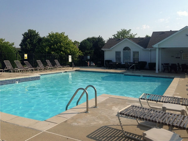Fairway Woods pool and clubhouse. Free water aerobic classes for the residents during the summer.