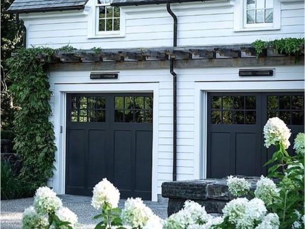 Classic black garage doors