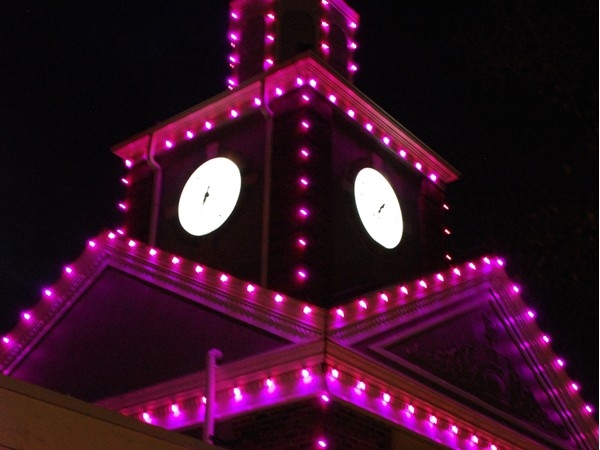 Prairie Village Shopping Center is lit up for Breast Cancer Awareness month