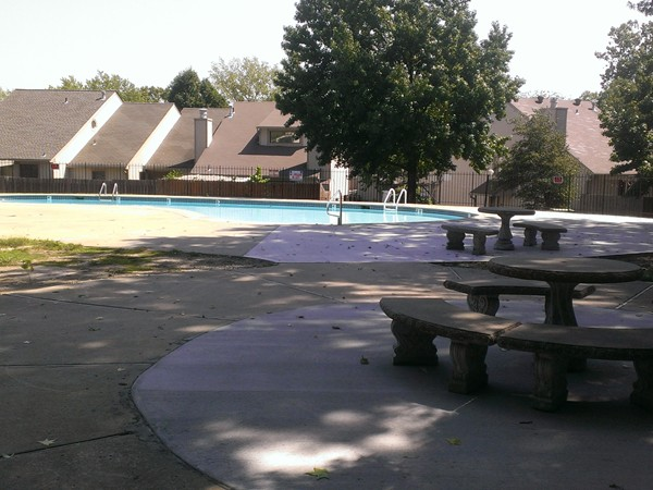 Beautiful common grounds around the pool facilities at The Trails subdivision in Gladstone
