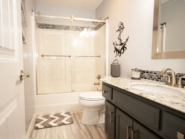 An awesome updated bathroom at Ward Park Place Subdivision, in Raymore