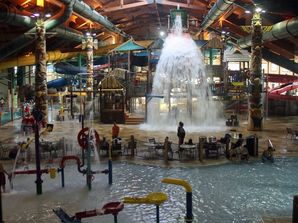 Check out the water fun at the Great Wolf Lodge! Slides, pools, mini golf and more!