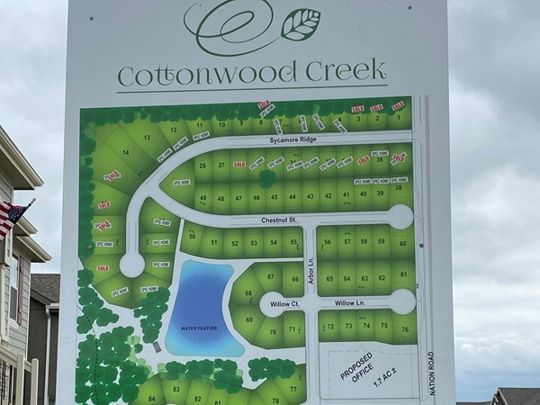 Subdivision map for Cottonwood Creek
