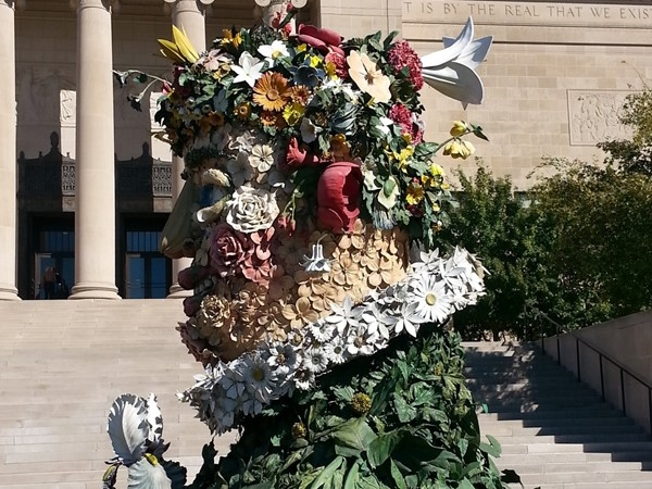 Philip Haas sculpture of Arcimboldo's Painting - Spring. Nelson-Atkins Museum of Art