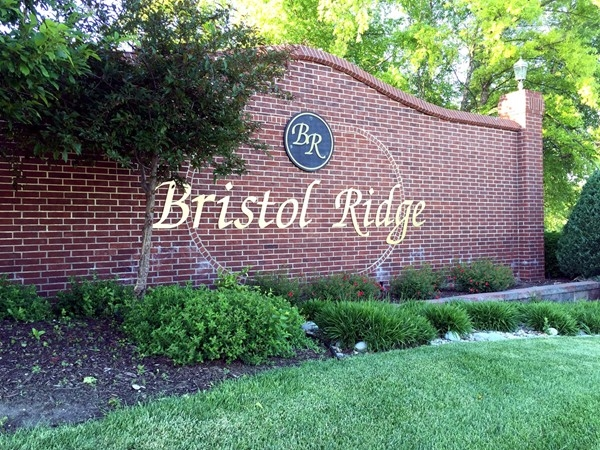 Entrance to Bristol Ridge subdivision in Lenexa