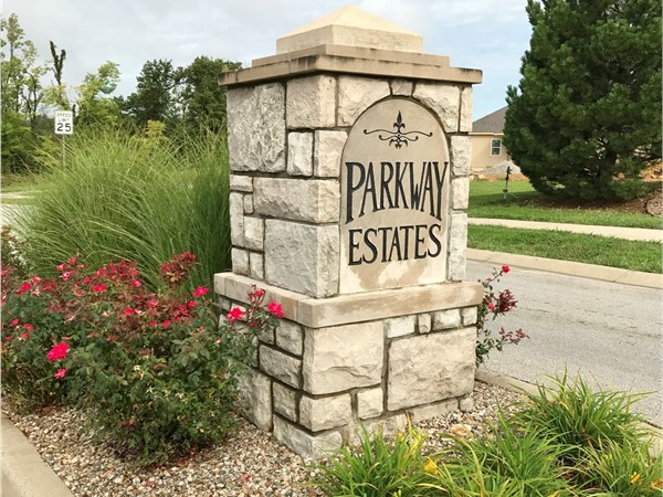 Well maintained entrance to Parkway Estates
