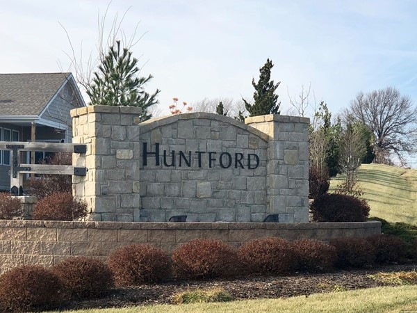 Main entrance to Huntford subdivision located in West Olathe (143rd and Lakeshore Drive)