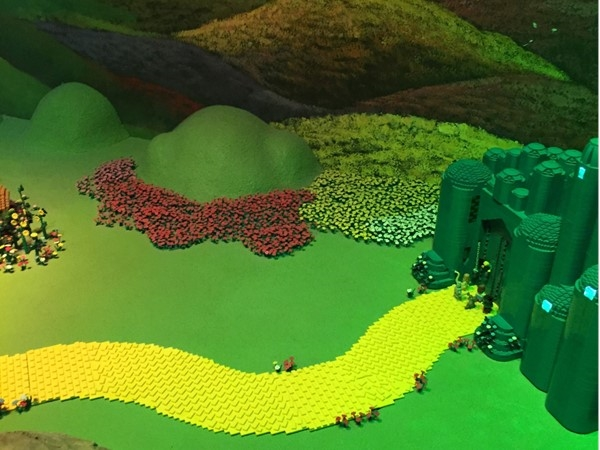 Lego yellow brick road approaching the Emerald City