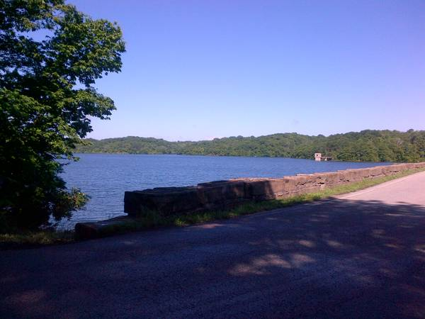 Looking southwest from the Wyandotte County Lake dam.