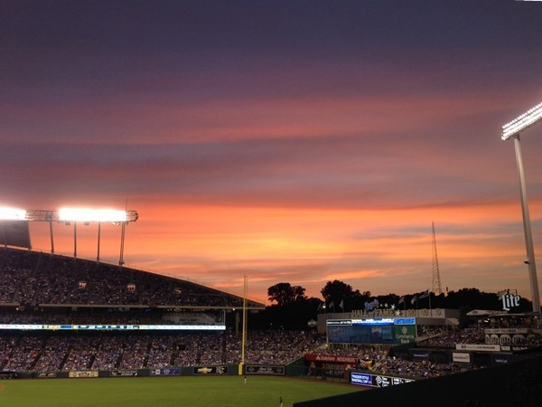 Sunset over Kauffman Stadium