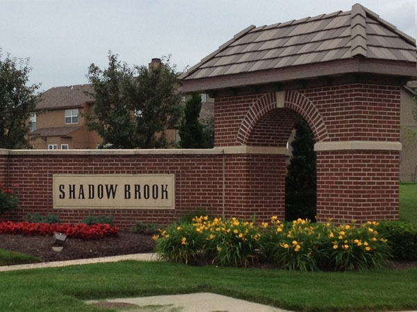 Shadow Brook subdivision entrance, near shopping and coveted Blue Valley School District