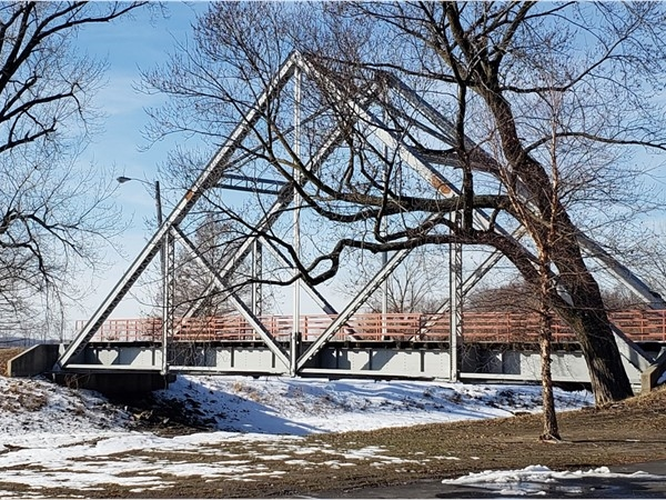The tressel bridge at English Landing Park is a geometric beauty