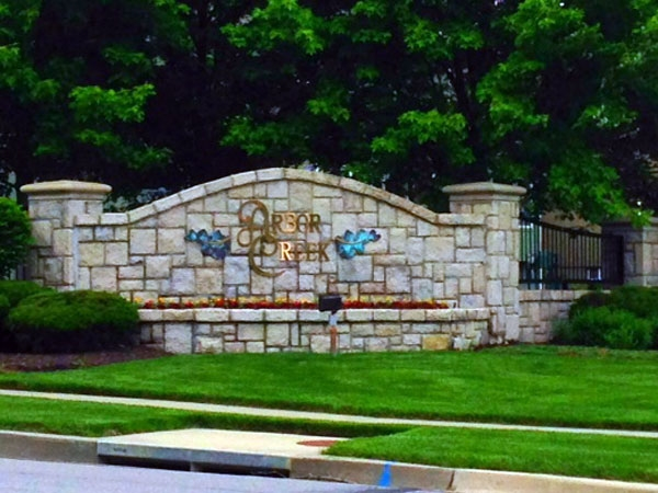 Entrance to the beautiful Arbor Creek Subdivision in Olathe.