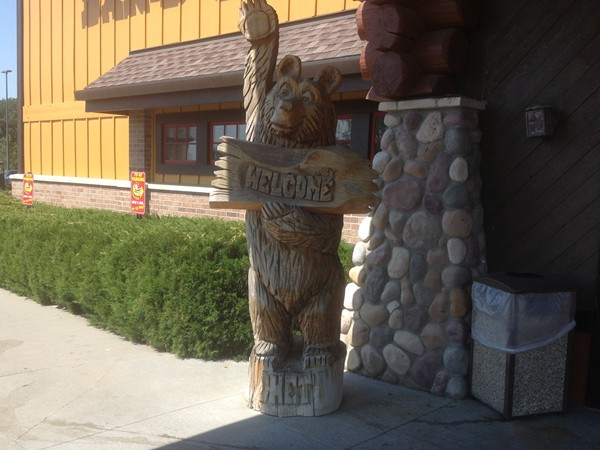 Chet greets you to pig out at Famous Dave's by Great Wolf Lodge