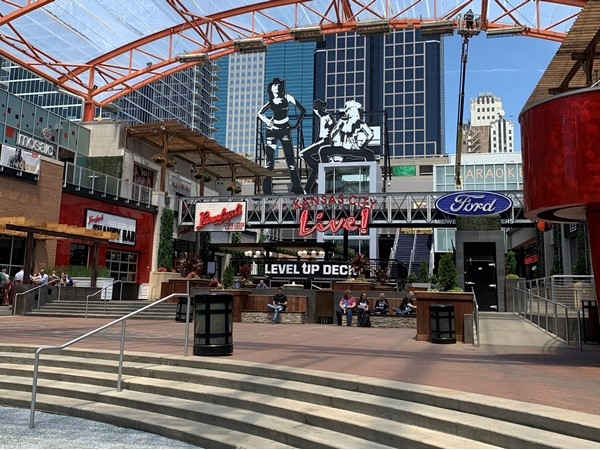 Beautiful day for a picture of event space in the Power & Light District