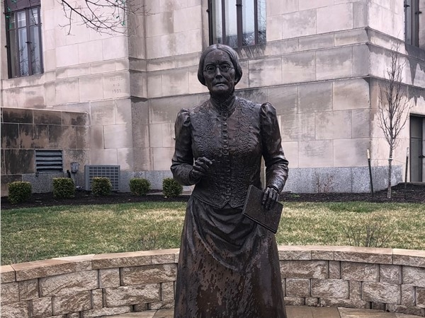 This beautiful statue of Susan B Anthony is in front of the Liberty Courthouse