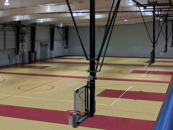 Basketball/volleyball courts inside the Blue Springs Fieldhouse