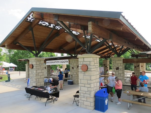 The Information Booth at the Black Hoof Park shelter house for the Great Outdoors Lenexa event