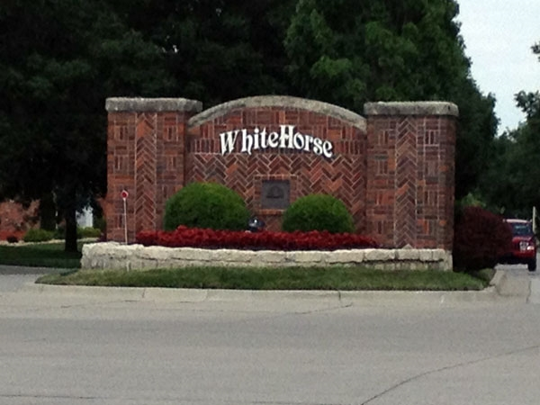 WhiteHorse Subdivision Entrance on 159th Street in Leawood.