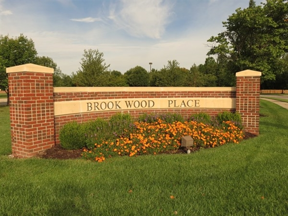 One of the two entrance monuments to Brookwood Place on Allman Street