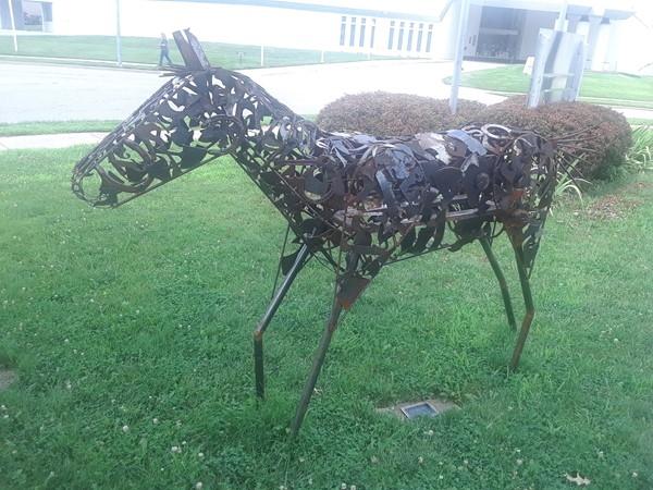 An iron horse sculpture