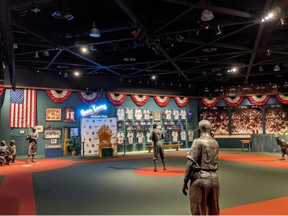 Find statues of legendary baseball stars in the Negro Leagues Baseball Museum